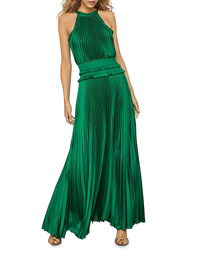 BCBGMAXAZRIA - Satin Plisse Pleated Maxi Dress