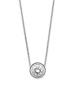 Roberto Coin 18K White Gold Bezel-Set Diamond Solitaire Pendant - Bloomingdale's_0