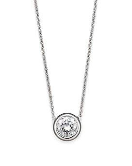 Roberto Coin - 18K White Gold Bezel Diamond Solitaire Pendant