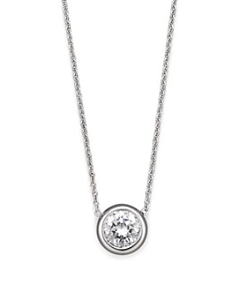 Roberto Coin - 18K White Gold Bezel-Set Diamond Solitaire Pendant