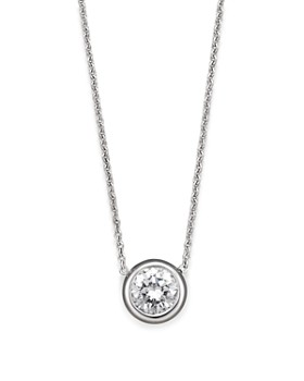 Roberto Coin - 18 Kt. White Gold Bezel-Set Diamond Solitaire Pendant