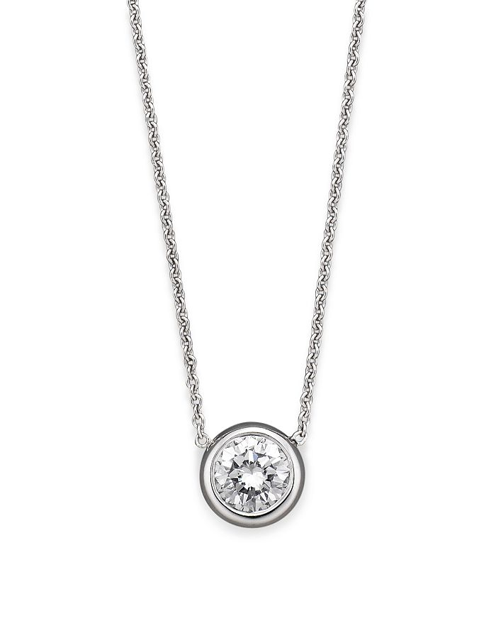 Roberto Coin - 18K White Gold Bezel Diamond Solitaire Pendant