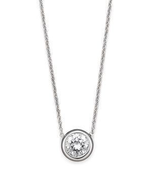 Roberto Coin 18 Kt. White Gold Bezel-Set Diamond Solitaire Pendant, 16