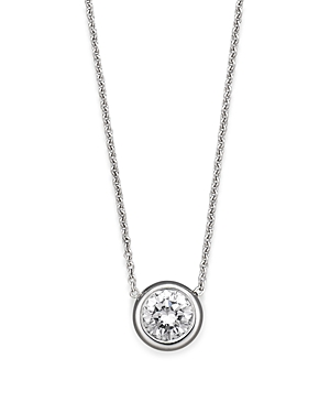 Roberto Coin 18 Kt. White Gold Bezel-Set Diamond Solitaire Pendant, 16