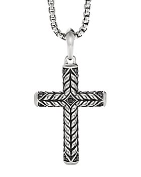 David Yurman - Chevron Sculpted Cross Pendant with Pavé Black Diamonds