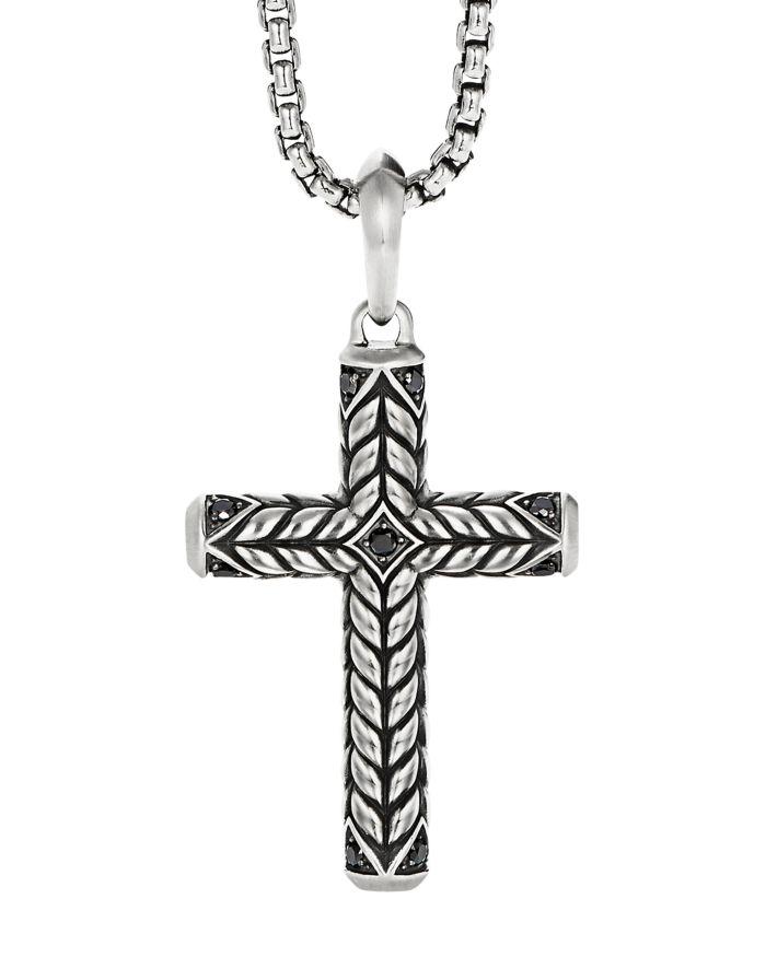 David Yurman Chevron Sculpted Cross Pendant with Pavé Black Diamonds    Bloomingdale's