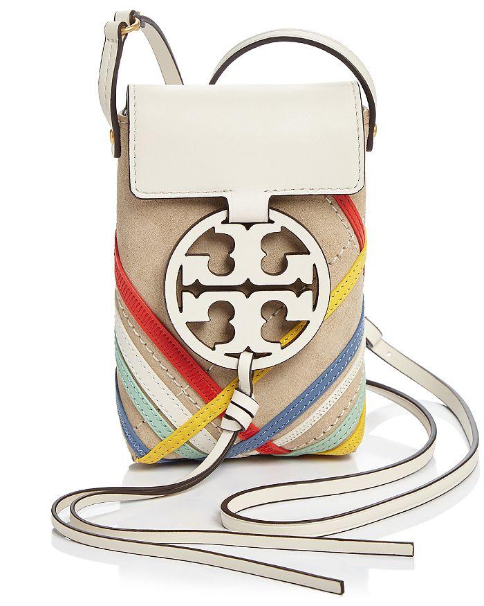 Tory Burch Miller Mini Zig Zag Leather Phone Crossbody In Dromedary