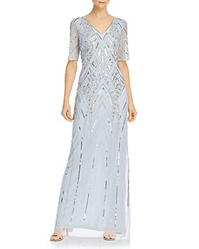 Adrianna Papell - Beaded Elbow-Sleeve Gown