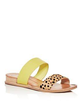 Dolce Vita - Women's Payce Leopard-Print Calf Hair Demi-Wedge Slide Sandals