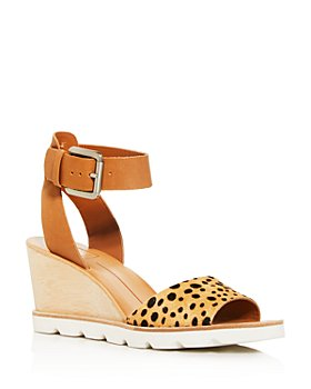 Dolce Vita - Women's Melika Leopard-Print Calf Hair Wedge Sandals
