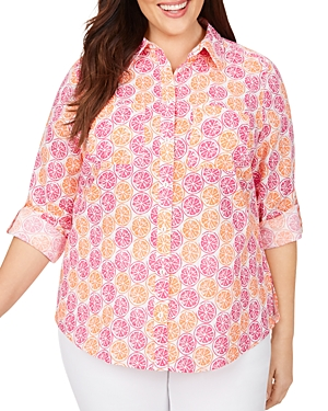 Zoey Wrinkle-Free Citrus Slices Print Shirt