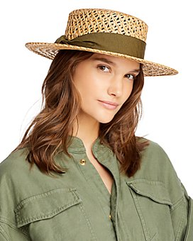 AQUA - Open Weave Straw Boater Hat