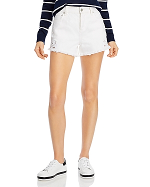 Alice + Olivia Amazing Embroidered Denim Shorts in Vintage Sugar-Women