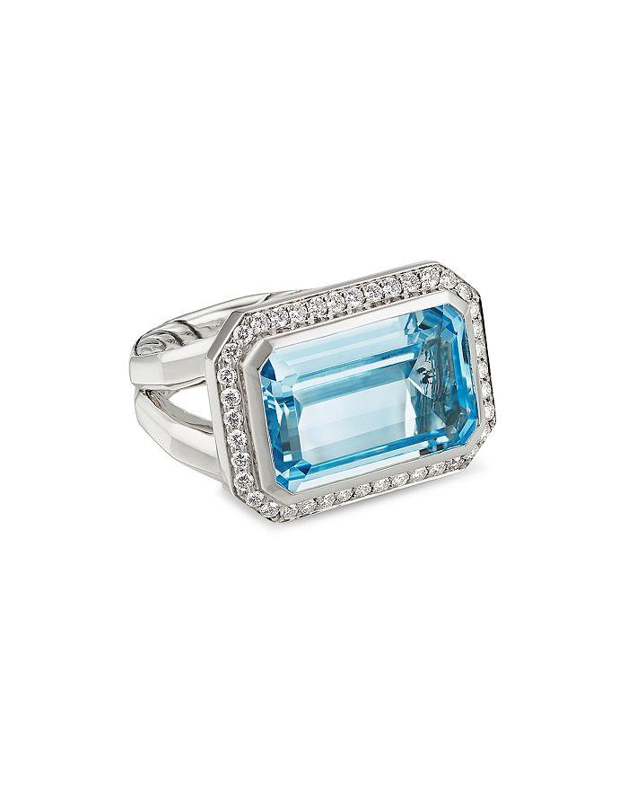 David Yurman - Sterling Silver Novella Statement Ring with Gemstone and Pavé Diamonds