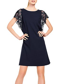 Aidan Mattox - Embroidered-Sleeve Cocktail Dress