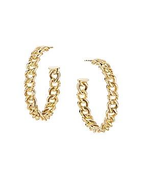 David Yurman - Belmont Curb Link Medium Hoop Earrings in 18K Yellow Gold