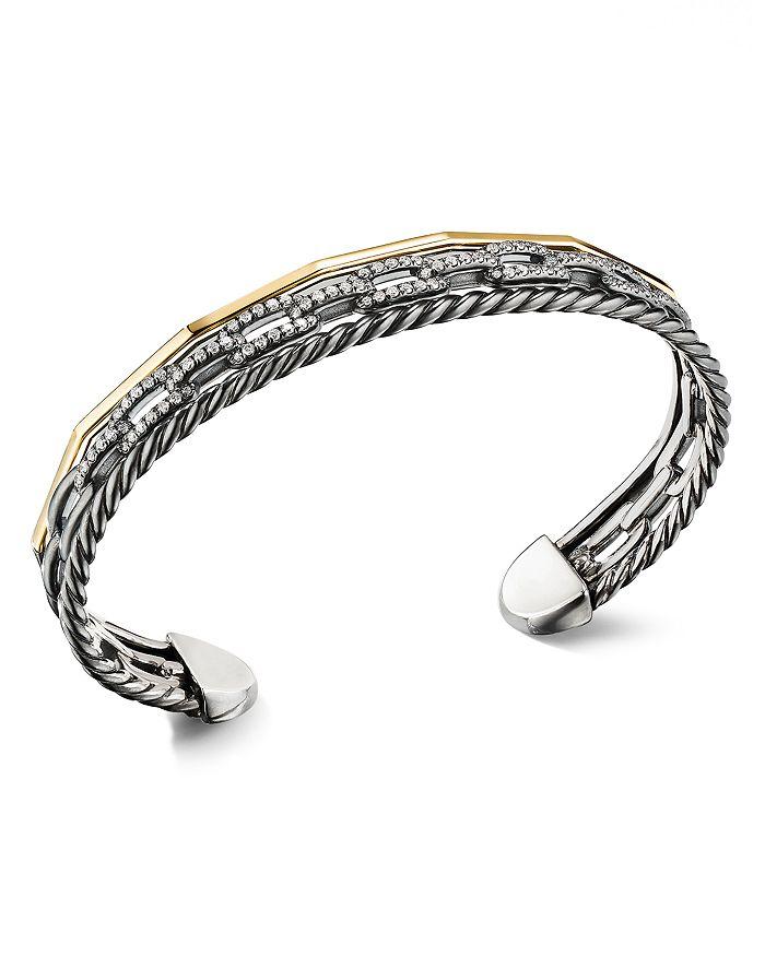 David Yurman - Stax Three-Row Cuff Bracelet in Blackened Silver with Diamonds