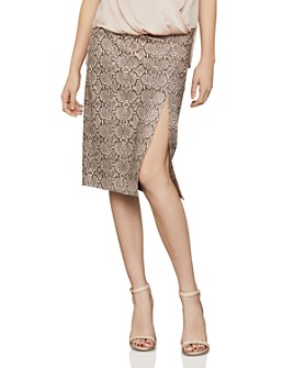 BCBGMAXAZRIA - Faux-Leather Snake-Print Pencil Skirt