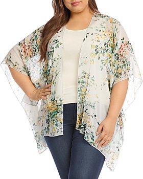 Karen Kane Plus - Painted Garden Georgette Printed Drape-Front Kimono Jacket