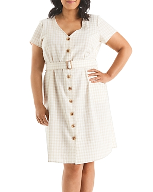 Estelle Plus Caribbean Gingham Print Fit-and-Flare Dress