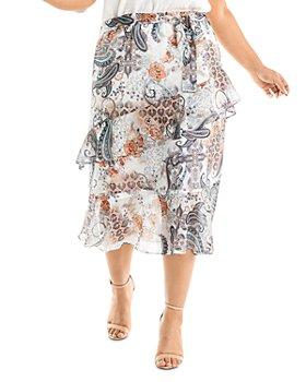 Estelle Plus - Living Printed Midi Skirt