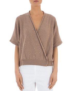 Peserico - Sequin-Embellished Cotton Wrap Sweater