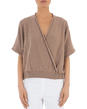 Peserico Sequin Embellished Cotton Wrap Sweater-Women