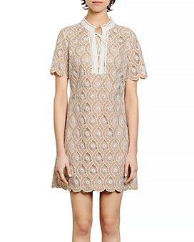 Sandro - Yanni Lace Mini Shift Dress