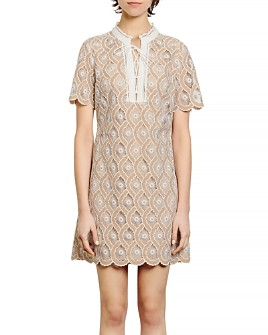 Sandro - Yanni Lace Mini Shift Dress