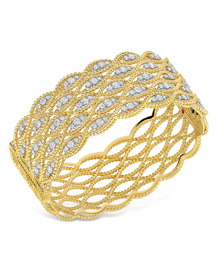 Roberto Coin - 18K Yellow Gold New Barocco Diamond Multi-Row Braided Bangle Bracelet