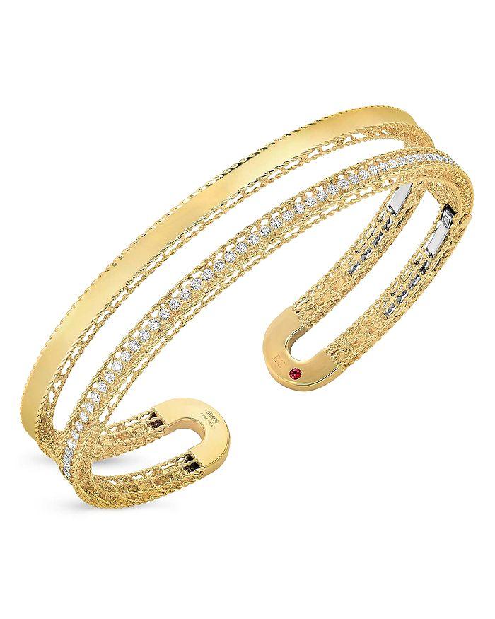 Roberto Coin - 18K Yellow Gold Symphony Princess Diamond Double Cuff Bangle Bracelet