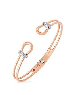 Roberto Coin - 18K Rose & White Gold Classique Parisienne Cheval Diamond Bangle Bracelet