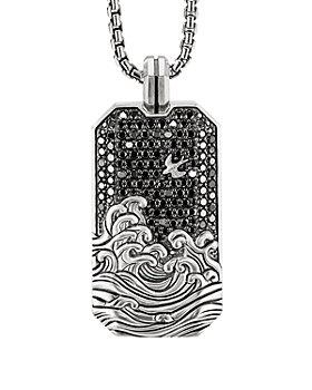 David Yurman - Waves Large Tag Pendant with Pavé Black Diamonds