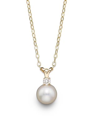 Cultured Freshwater Pearl and Diamond Pendant Necklace in 14K Yellow Gold, 16