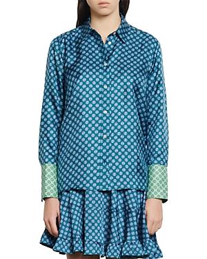 Sandro Sapy Printed Silk Shirt-Women