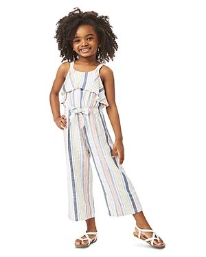 Habitual GIRLS' JAYDA STRIPED RUFFLED JUMPSUIT - LITTLE KID