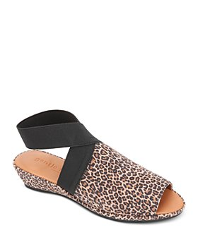 Gentle Souls by Kenneth Cole - Women's Lily Almond Toe Crossover Elastic Strap Wedge Sandals