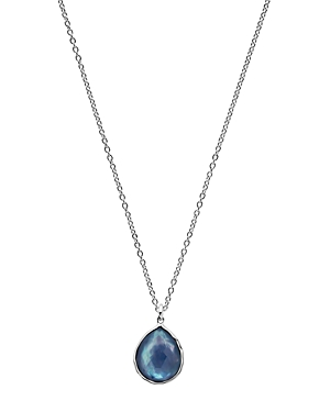 Ippolita Sterling Silver Rock Candy Clear Quartz over Mother of Pearl and Lapis Triplet Teardrop Pendant Necklace, 18-Jewelry & Accessories