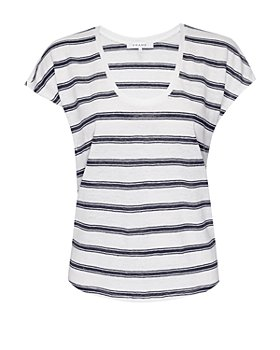 FRAME - Striped Scoop Neck Tee