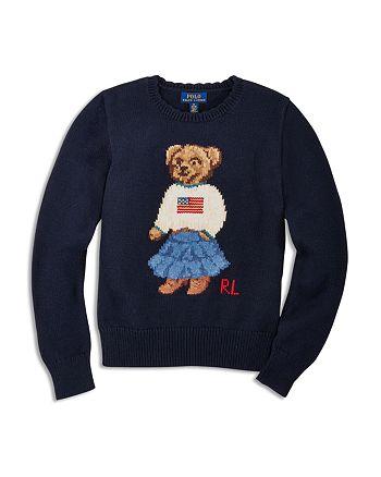 Ralph Lauren - Girls' Iconic Bear Sweater - Big Kid