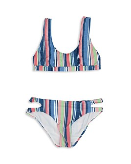 Splendid - Girls' Holding Pattern Sport Bra & Cutout Bottom Two Piece Swimsuit - Big Kid