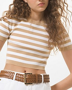 MICHAEL Michael Kors - Striped Cropped Sweater
