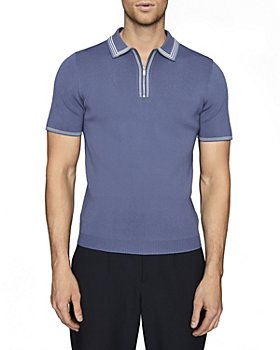 REISS - Stetson Piped Ribbed Knit Slim Fit Polo Shirt