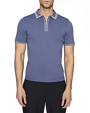 Reiss STETSON PIPED RIBBED KNIT SLIM FIT POLO SHIRT