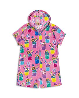 Candy Pink - Girls' Hooded Milkshake Fleece Pajama Romper - Big Kid