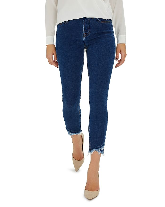 7 For All Mankind - Frayed Hem Skinny Ankle Jeans in Amalfi