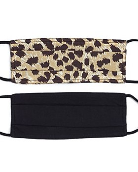 Echo - Leopard & Solid Face Masks, Set of 2