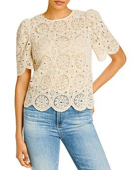 AQUA - Crocheted Puff Sleeve Blouse - 100% Exclusive