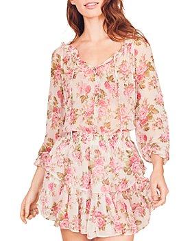 LoveShackFancy - Silk Floral Print Popover Dress