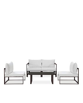 Modway - Fortuna 5 Piece Outdoor Patio Modular Sectional Sofa and Large Coffee Table Set